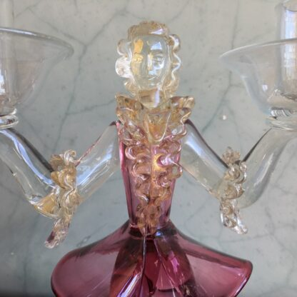 Murano Glass double candlestick figure in Ruby glass, mid 20th century-25798