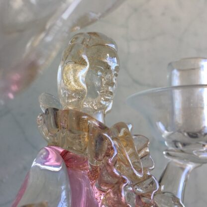 Murano Glass double candlestick figure in Ruby glass, mid 20th century-25795