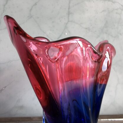 Murano Glass vase, red & blue, mid 20th century -25827