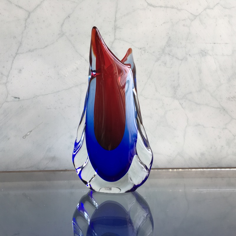 Murano Glass Vase Birds Beak Form With Blue Red Mid 20th Century