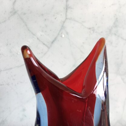 Murano Glass vase, 'birds beak' form with blue red, mid 20th century-25834