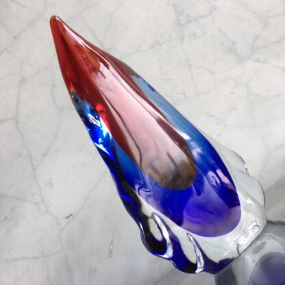 Murano Glass vase, 'birds beak' form with blue red, mid 20th century-25837