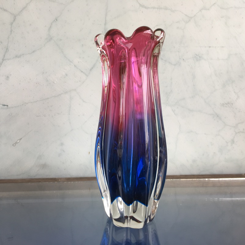 Murano Glass Vase Ribbed Red Blue Mid 20th Century Moorabool