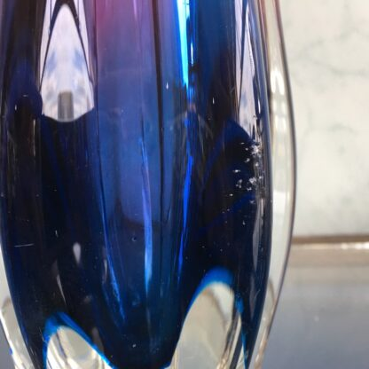 Murano Glass vase, ribbed red & blue, mid 20th century-25846