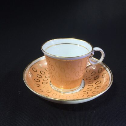 Chamberlains cup & saucer, fawn & gold pattern, C. 1815 -0