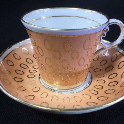 Chamberlains cup & saucer, fawn & gold pattern, C. 1815 -25298