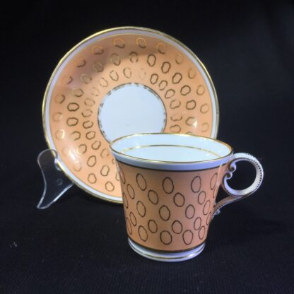 Chamberlains cup & saucer, fawn & gold pattern, C. 1815 -25301
