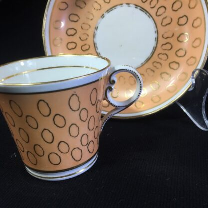 Chamberlains cup & saucer, fawn & gold pattern, C. 1815 -25300