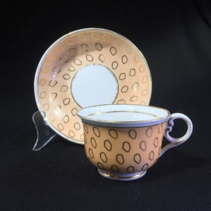 Chamberlains cup & saucer, fawn & gold dec, C. 1815 -0