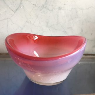 Large Murano Glass bowl, Ruby rim, mid 20th century-0