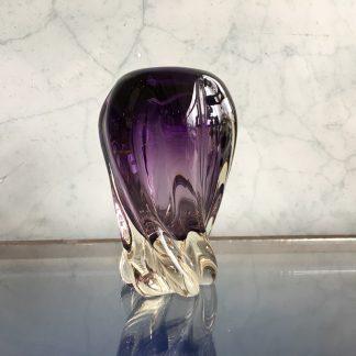 Murano Glass vase, spiral purple form, mid 20th century-0