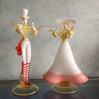 Pair of large Murano Glass figures in white, mid 20th century-0