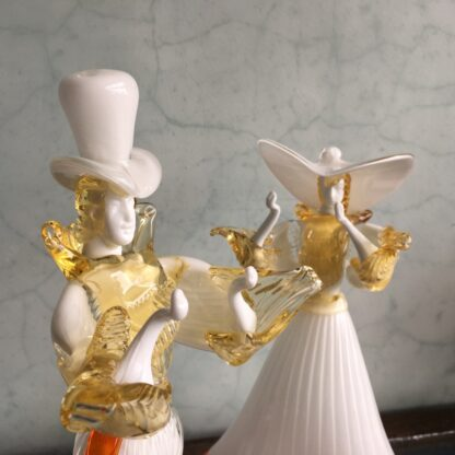 Pair of large Murano Glass figures in white, mid 20th century-25897