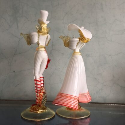 Pair of large Murano Glass figures in white, mid 20th century-25896