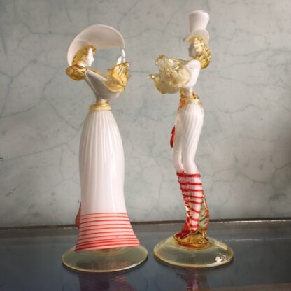 Pair of large Murano Glass figures in white, mid 20th century-25902