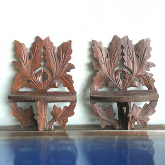 Pair of Victorian carved wood wall brackets-0