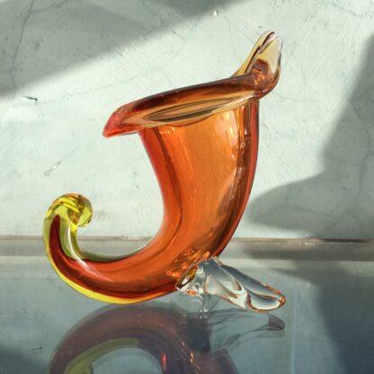 Murano Glass cornucopia vase in amber, original sticker, mid 20th century-0