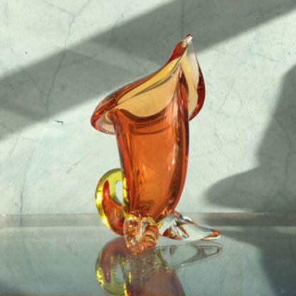 Murano Glass cornucopia vase in amber, original sticker, mid 20th century-26133