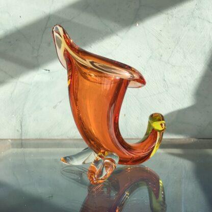 Murano Glass cornucopia vase in amber, original sticker, mid 20th century-26130