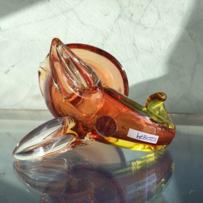 Murano Glass cornucopia vase in amber, original sticker, mid 20th century-26135