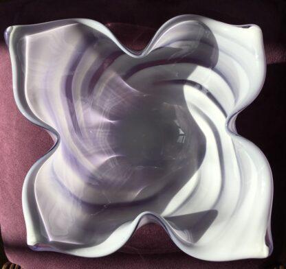 Large Murano Glass bowl, purple & white, mid 20th century-26117