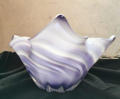 Large Murano Glass bowl, purple & white, mid 20th century-26121
