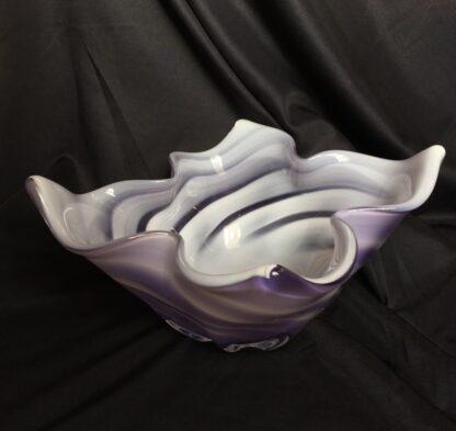 Large Murano Glass bowl, purple & white, mid 20th century-0