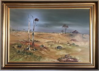 Lucette DaLozzo oil painting - 'Bush scene near Pringle Station' 1977-0