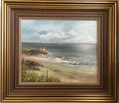 Lucette DaLozzo oil painting - 'Beachside Holiday' c.1975-25940