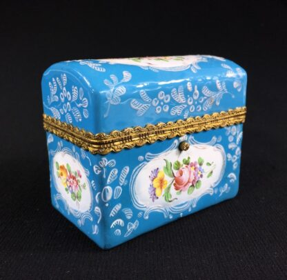 English blue enamel scent bottle casket, 5 bottles, circa 1785 -26005