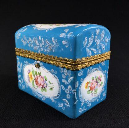 English blue enamel scent bottle casket, 5 bottles, circa 1785 -26010