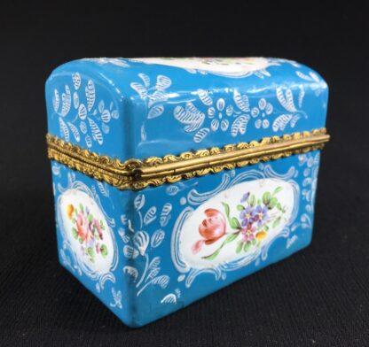 English blue enamel scent bottle casket, 5 bottles, circa 1785 -26003