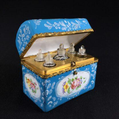 English blue enamel scent bottle casket, 5 bottles, circa 1785 -26006
