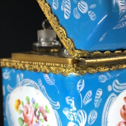 English blue enamel scent bottle casket, 5 bottles, circa 1785 -26008