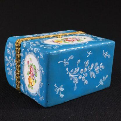 English blue enamel scent bottle casket, 5 bottles, circa 1785 -26013