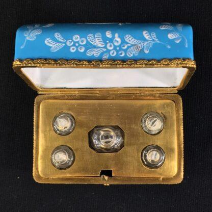 English blue enamel scent bottle casket, 5 bottles, circa 1785 -26020