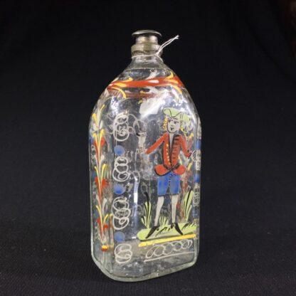 German glass flask enamelled with verse & figure, c. 1730-25995