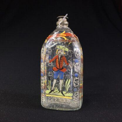 German glass flask enamelled with verse & figure, c. 1730-0