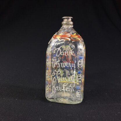 German glass flask enamelled with verse & figure, c. 1730-25997