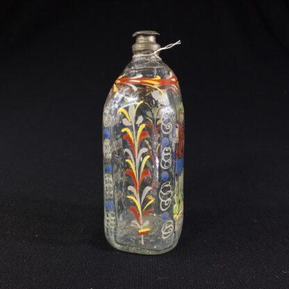 German glass flask enamelled with verse & figure, c. 1730-25996