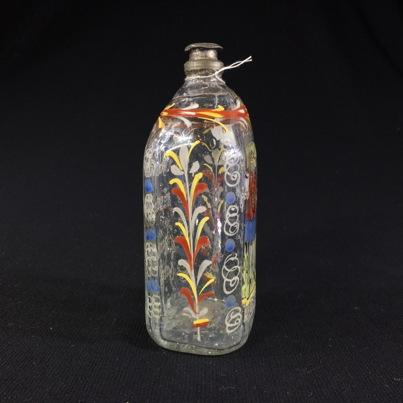 German Glass Flask Enamelled With Verse Amp Figure C 1730