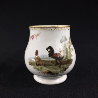 Furstenberg custard cup painted with chickens, c. 1765-0