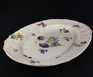 Meissen oval serving plate, New Ozier moulded & flowers, c. 1760 -0