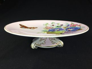 Victorian low comport, raised flowers & butterfly, George Jones?, c. 1870-0