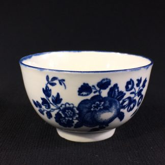 Worcester teabowl, 'Fruit Sprigs' pattern print in blue, c.1780-0
