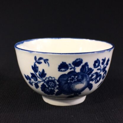 Worcester teabowl, 'Fruit Sprigs' pattern print in blue, c.1780-0