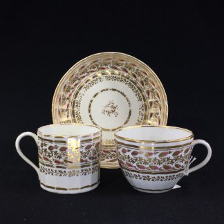 Coalport fluted trio, rosebuds in wide gilt foliage bands, c.1815 -0