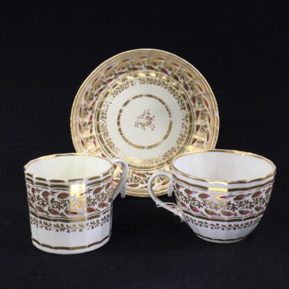 Coalport fluted trio, rosebuds in wide gilt foliage bands, c.1815 -26052