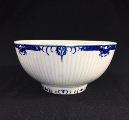 Worcester punch bowl, ribbed form with underglaze lambrequin borders, c.1765 -0