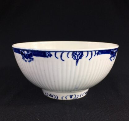 Worcester punch bowl, ribbed form with underglaze lambrequin borders, c.1765 -26032